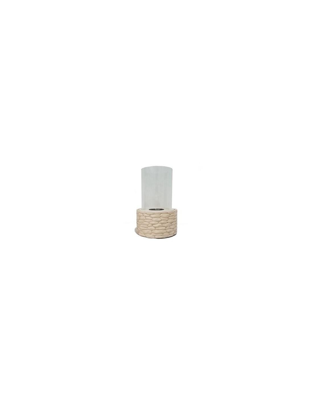PURLINE ARCTOS Biochimenea de sobremesa de piedra artificial con cristal cil/índrico
